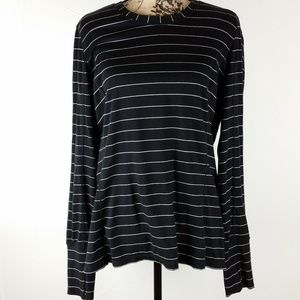 Athleta. Black / White Striped Shirt. XL